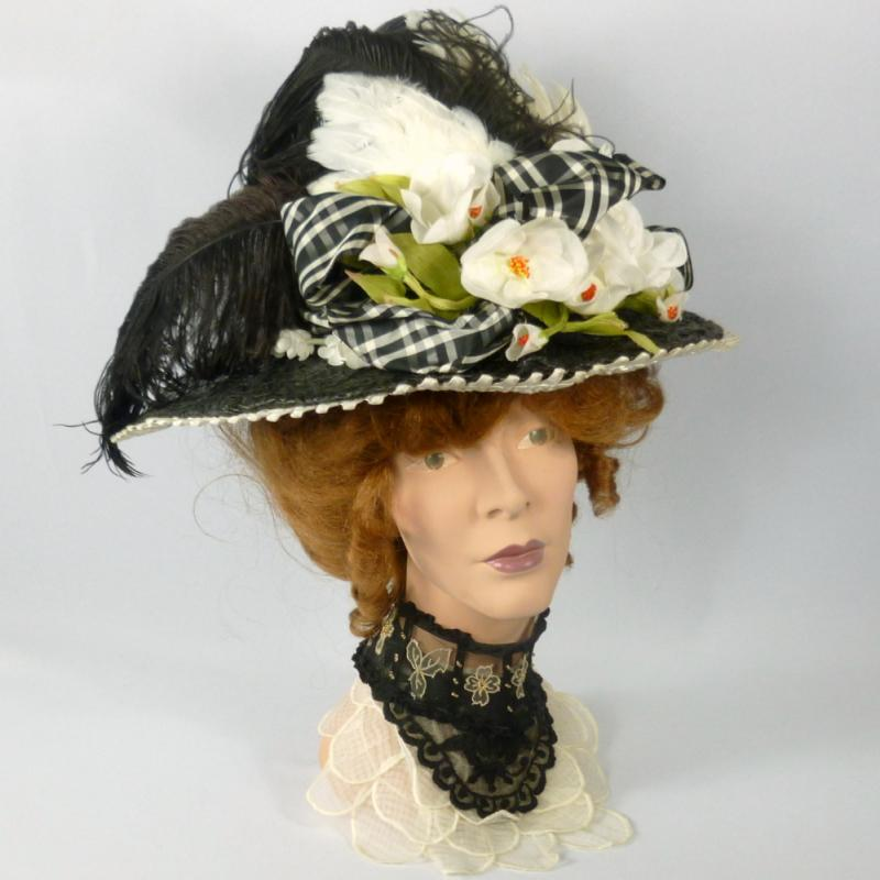 Victorian reproduction black straw picture hat